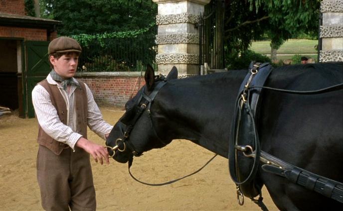 Кадр из художественного фильма про лошадь Черный красавчик